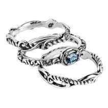 Carolyn Pollack Sterling Silver Gemstone Stackable Set of 3 Rings Size 05 to 10 - Choice of Gemstone
