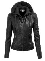 VearFit Flintoni Deteachable Hood Real Lambskin Leather Hooded Jacket for Women