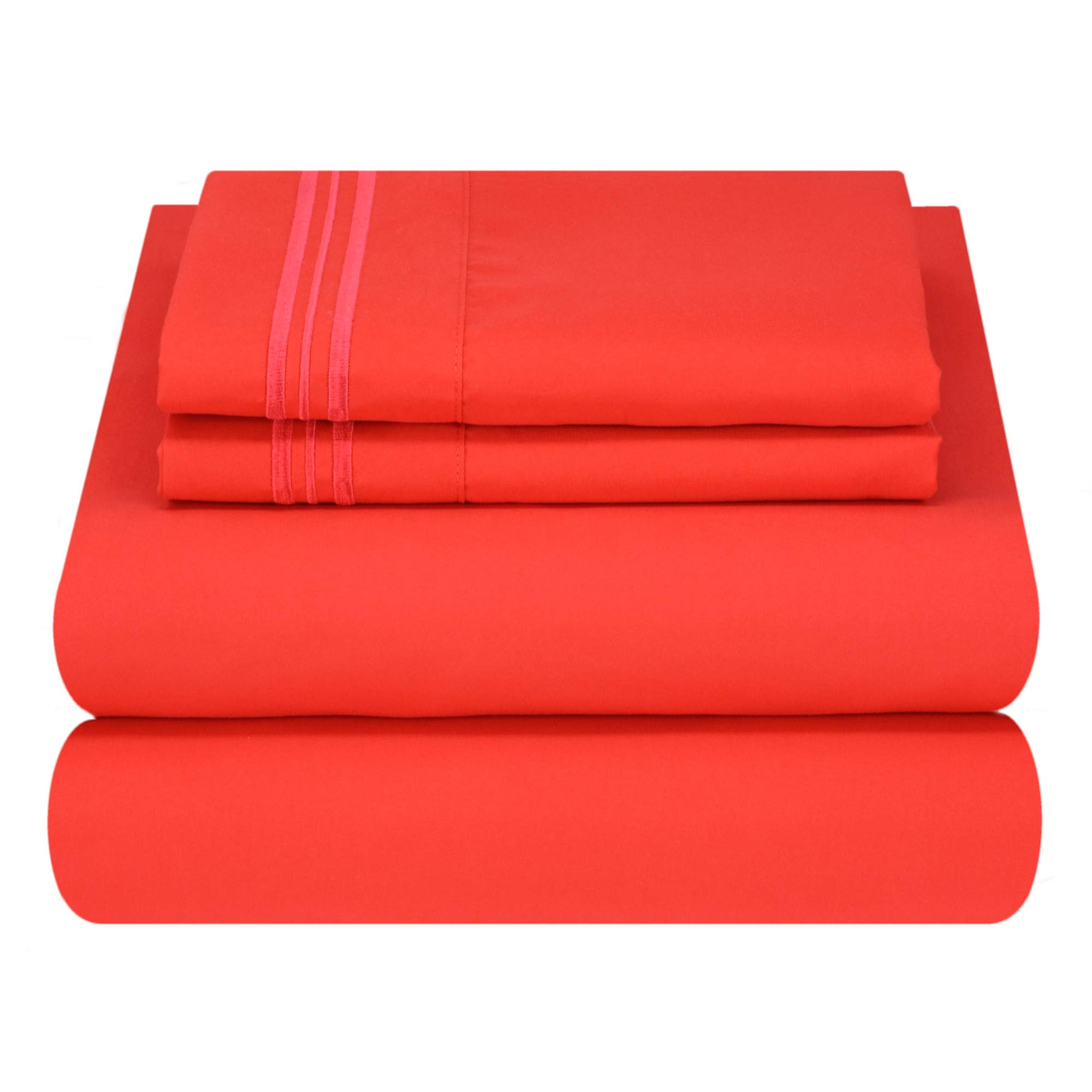 Mezzati Luxury Bed Sheet Set - Soft and Comfortable 1800 Prestige Collection - Brushed Microfiber Bedding (Red, Cal King Size)
