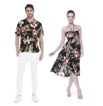 Couple Matching Hawaiian Luau Party Outfit Set Shirt Dress in Black Rafelsia