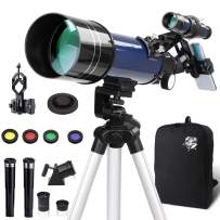 Adults Astronomy Telescopes Set, Portable 400mm(f/5.7) 70mm Aperture 199x Astronomical Refractor, W/Finder Scope Tripod Backpack Moon Filter Phone Adapter, for Beginners Kids AdultsTravel Gift