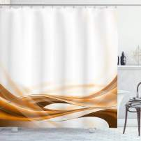 """Lunarable Camel Color Shower Curtain, Abstract Brown Color Flowing Simplistic Design Motion Vitality Waves, Cloth Fabric Bathroom Decor Set with Hooks, 75"""" Long, Orange White"""