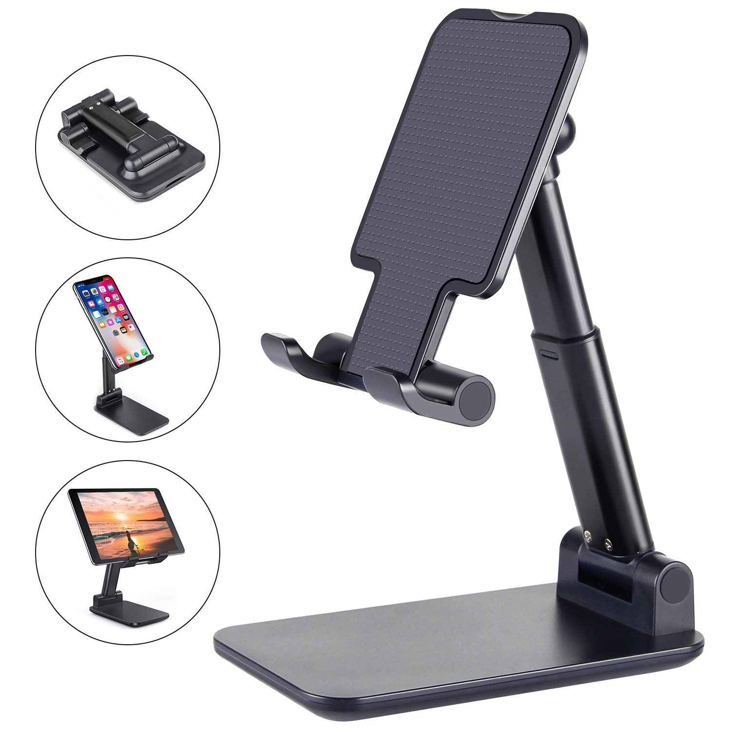 Cell Phone Stand, ANDATE Angle Height Adjustable Cell Phone Stand for Desk, Fully Foldable Phone Holder, Tablet Stand, Case Friendly Compatible with All Mobile Phone/iPad/Kindle/Tablet (Black)