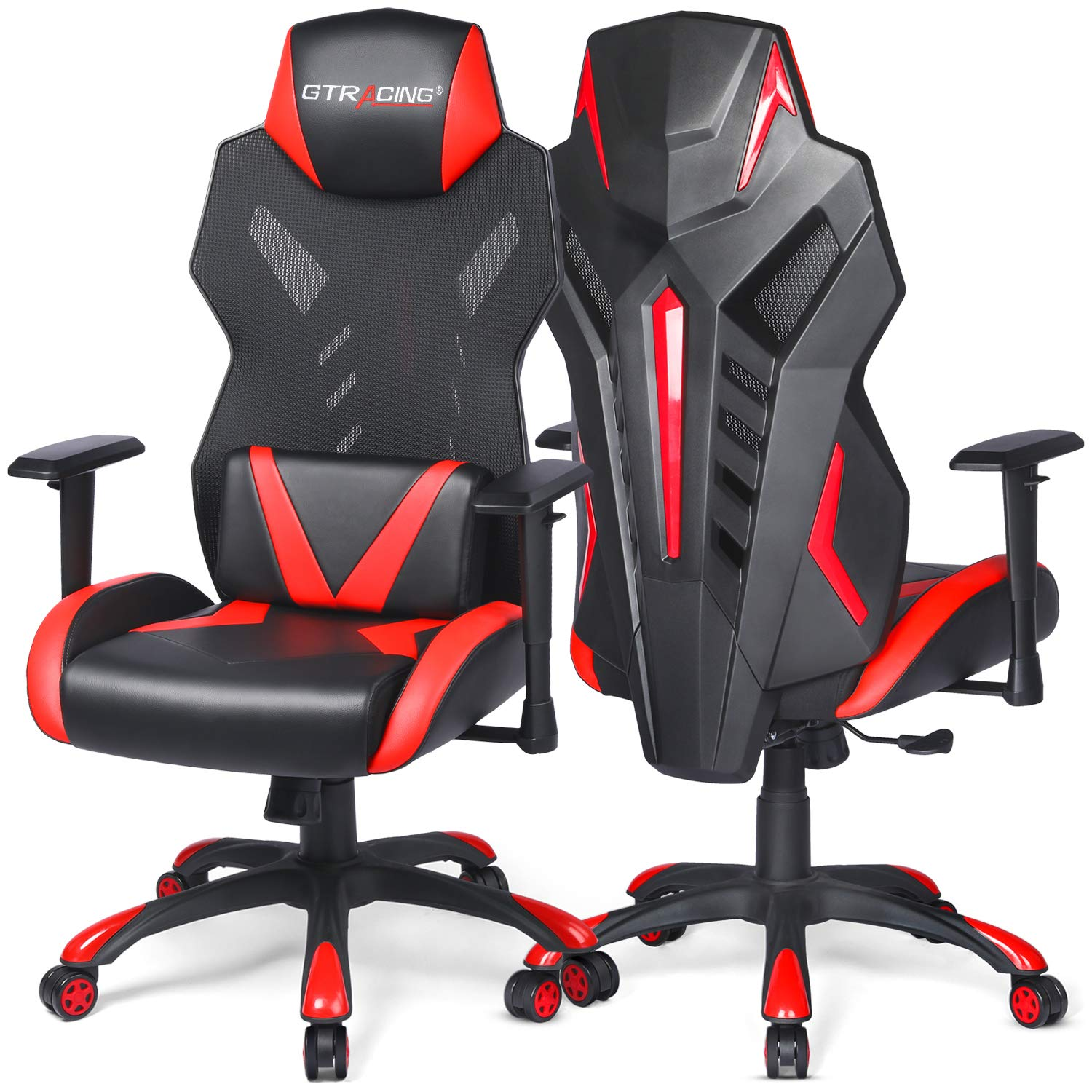 Picture of: Gtracing Gaming Chair Mesh Racing Style Office Chair High Back Computer Desk Chair Ergonomic Swivel Chair Adjustable Seat Cushion Headrest Breathable Back Red 1 Pack