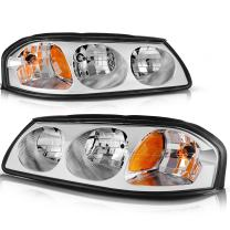DWVO Headlight Assembly Compatible with 2000-2005 Chevy Impala Chrome Housing Amber Reflector