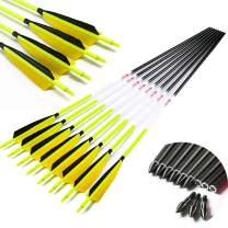 Linkboy Archery Carbon Arrows Hunting Practice Target Arrows Fluorescent with Removable Tip for Compound Recurve Long Bows, Spine 300 340 400 500 600, 28/30/32inch Pack of 6/12PCS