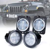 Xprite LED Clear Lens Turn Signal Lights with Parking Function & Front Fender Side Marker Amber Light Assembly Replacement Combo for 2007-2018 Jeep Wrangler JK & Wrangler Unlimited