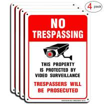 """Video Surveillance Sign(4 Pack), No Trespassing Private Property Warning Sign, 10""""x 7"""" Rust Free.40 Aluminum, Easy to Mount, Indoor Or Outdoor Use for Home Business CCTV Security Camera by HISVISION"""
