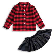 Toddler Baby Girl Outfit Lace Long Sleeve Shirts Top Plaid Blouse Ruffle PU Leather Tutu Skirts Fall Winter 2pcs Clothes