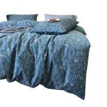 VM VOUGEMARKET Blue Flower Duvet Cover Set Girls Bedding Set,100% Cotton Sea Grass Plants Pattern Duvet Cover with Zipper,Lightweight Bright Floral Comforter Cover Set,Twin Size