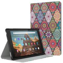 Dadanism Case Fits All-New Amazon Fire HD 10 Tablet Case (7th and 9th Generations, 2017 and 2019 Releases), Lightweight Stand Cover with Auto Wake/Sleep - Rhombus Datura