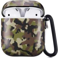 Airpods Case, Camo Airpods Protective Hard Case Cover with Keychain Compatible with AirPods 2/1 Eco-Friendly Cute Girls Men Durable Shockproof Drop Proof Anti Lost Case for AirPods Charging Case