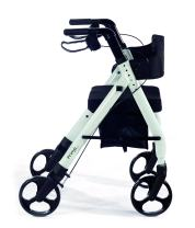 "Comodita Prima Special Rollator Walker with Exclusive 16"" Wide Ultra Comfortable Orthopedic Seat, Removable Cup Holder and Cane Holder - Metallic White"