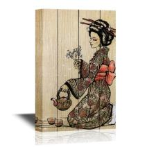 wall26 - Japanese Culture Canvas Wall Art - Traditional Japanese Woman Dressed in Kimono with Teapot - Gallery Wrap Modern Home Decor | Ready to Hang - 12x18 inches