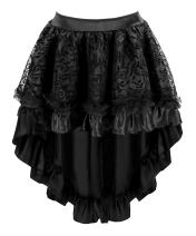 Blidece Women's Lace Steampunk Gothic Vintage Satin High Low Midi Skirt with Zipper