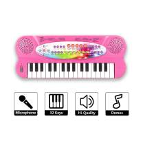 SAOCOOL Kids Piano, 37 Keys Multifunction Electronic Toy Piano Keyboard Learning Educational Piano for Boys and Girls (Pink 1)