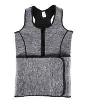 GIRL MELODY Sauna Sweat Zipper Waist Trainer Vest for Women Weight Loss Slimming Tank Top with Adjustable Waist Shaper Corset