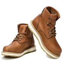ROCKROOSTER Men Work Boots Safety Soft-Toe Industrial Boot Brown Workboots Moc Toe Construction Shoes