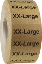 Natural Kraft XX-Large Clothing Labels Size Strip Stickers for Retail Apparel 1.25 x 5 Inch 125 Adhesive Stickers