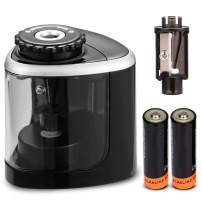 Pencil Sharpeners, Electric Pencil Sharpener for Battery-Powered, Fast Sharpen, Suitable for No.2/Colored Pencils(6-8mm)/Classroom/Office/Home - Black