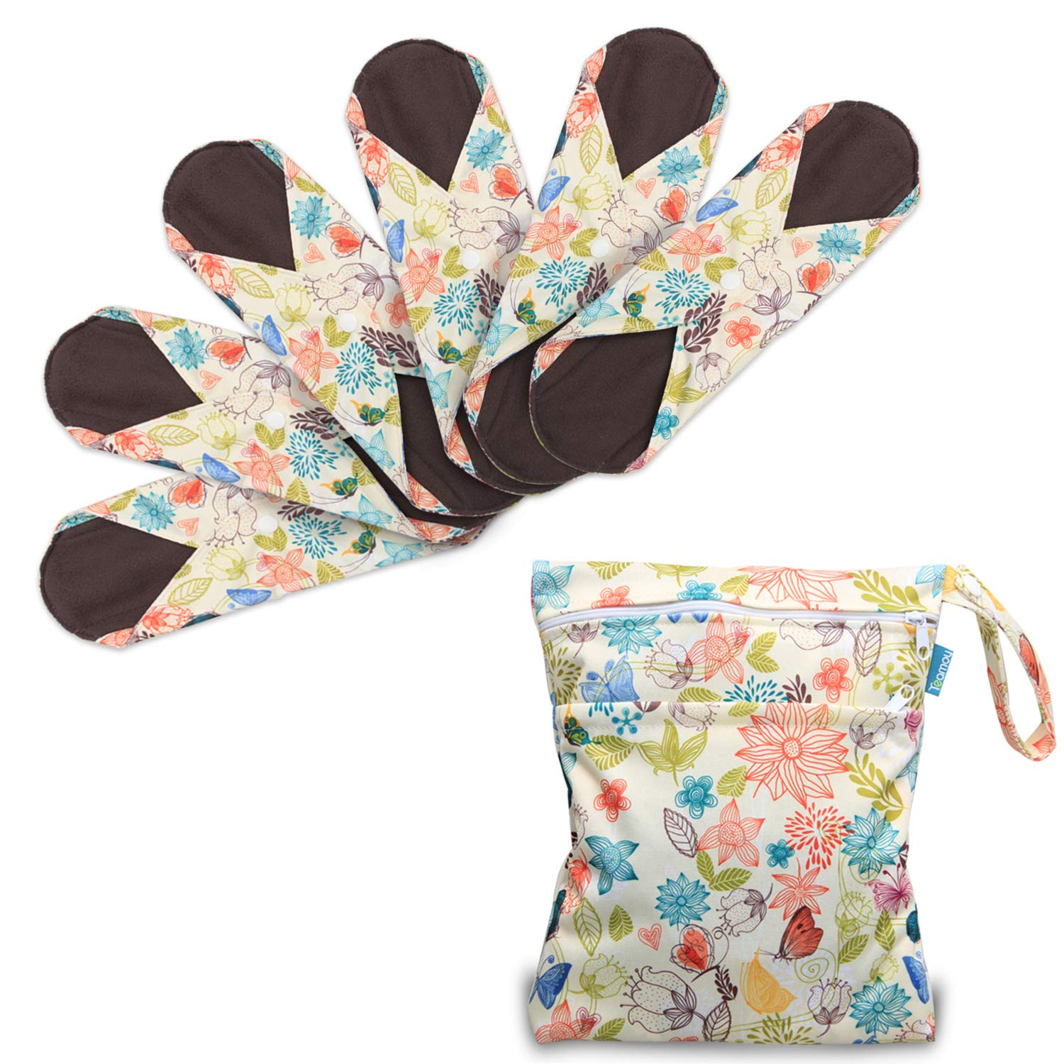 Teamoy 6pcs 10 Inches Sanitary Pad Reusable Washable Cloth Menstrual Pads Panty Liners With Wet Bag Super Absorbent Soft And Comfortable Perfect For General Flow Medium Jungle