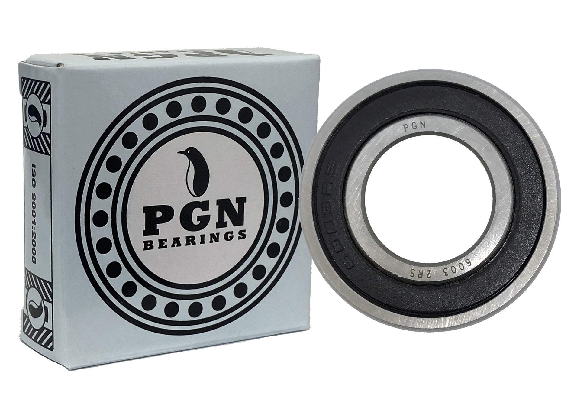 (4 Pack) PGN 6003-2RS Sealed Ball Bearing - 17x35x10 - Lubricated - Chrome Steel