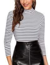 Women's 3/4 Sleeve Mock Neck Turtleneck Striped T-Shirt Slim Fit Tee Shirt Tops