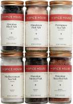 The Spice House - Salt Deluxe Variety Set - 6 Count - ½ Cup Each - Sealed Display Jars - Expertly Sourced Himalayan, Hawaiian, Mediterranean, Portuguese Sea Salts - Perfect for Cooking