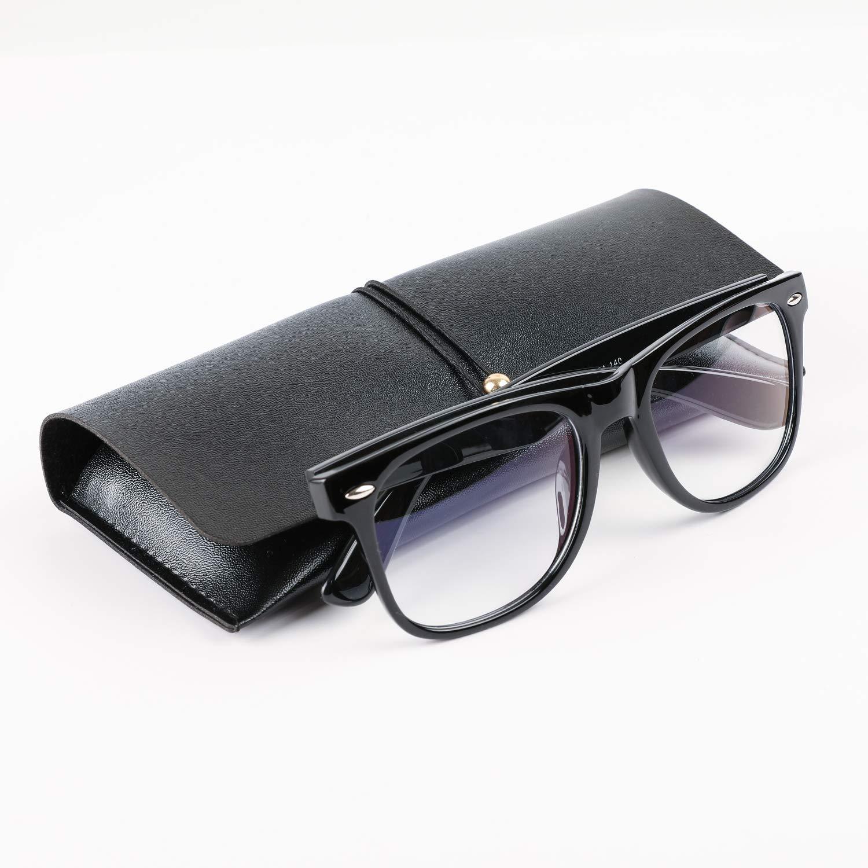 CABEPOW Computer Glasses for Blue Light Blocking, Anti Eyestrain Anti Glare Lightweight Frame for Screen Eyeglasses, Computer Glasses UV400 Transparent Lens, Unisex (Men/Women),Bright Black Frame