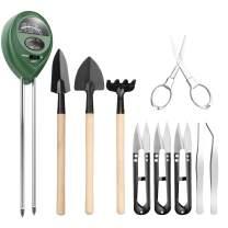 Pancellent 12 in 1 Soil Meter (3-in-1 Moisture Sensor/Sunlight/pH,9pcs Bonsai Tools) Include Pruner, Fold Scissors, Mini Rake, Bud & Leaf Trimmer Set by
