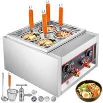 VBENLEM Electric Pasta Cooking Machine 4 Holes with Pasta Baskets 5KW Table Top Noodles Cooker Machine 220V with Manual Noodles Press Machine