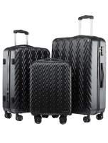 Seanshow Luggage 3 Piece Set TSA Lock Black Travel 3PCS Luggage Set 18-24-28in