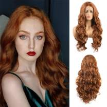 """Imeya 22"""" Light Auburn Lace Front Wig For Women Warm Brown Synthetic Body Wave Wig With 13x4 Frontal Lace Middle Parting Long Wavy Ginger Wig Soft Heat Friendly Fiber Wigs 150% Density (22 Inches)"""