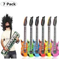 MAIAGO 7 Pack Inflatable Rock Star Toy Set - 6 Inflatable Electric Guitar(37 INCH), 1 Inflatable Keyboard Piano (23.62INCH) Inflatable Rock Toys for 80s 90s Themed Party,Children's Birthday Party.