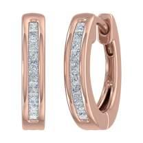 1/5 Carat to 1/4 Carat Channel Set Princess cut Diamond Huggies Earrings in 10K Solid Gold