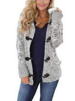 LANREMON Women Fleece Knit Hooded Cardigans Button up Cable Sweater Soft Coat Winter Outwear with Pockets