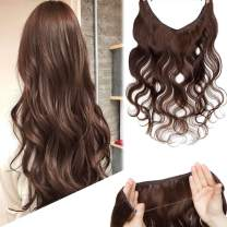 Human Hair Wire Extensions 22 Inch Thin Seamless Secret Fish Line Hidden Crown Hair Extensions Long Wavy No Clips No Glue Invisible Haippiece 75g #4 Medium Brown