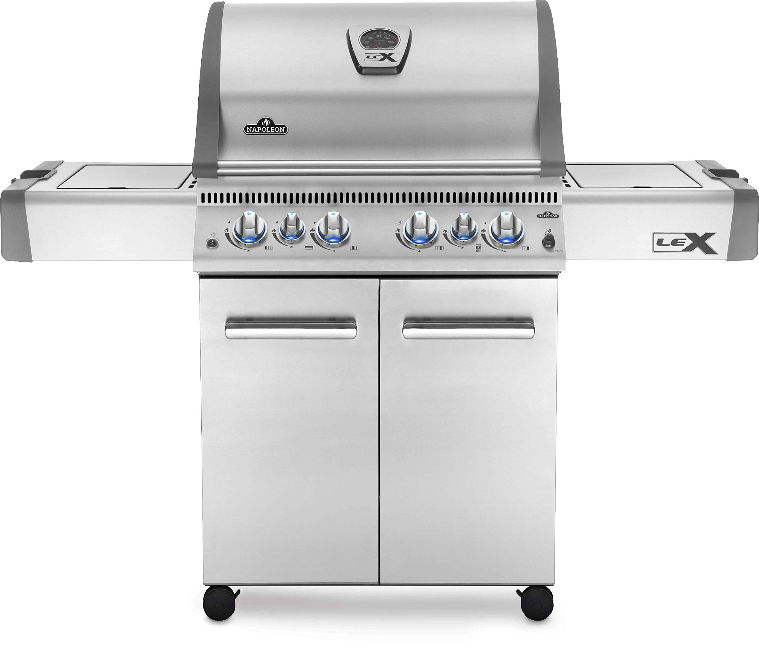 Napoleon LEX 485 BBQ Grill, Stainless Steel, Propane Gas - LEX485RSIBPSS-1 - With Infrared Rear and Side Burner, Barbecue Gas Cart, Instant Failsafe Ignition, Backlit Control Knobs