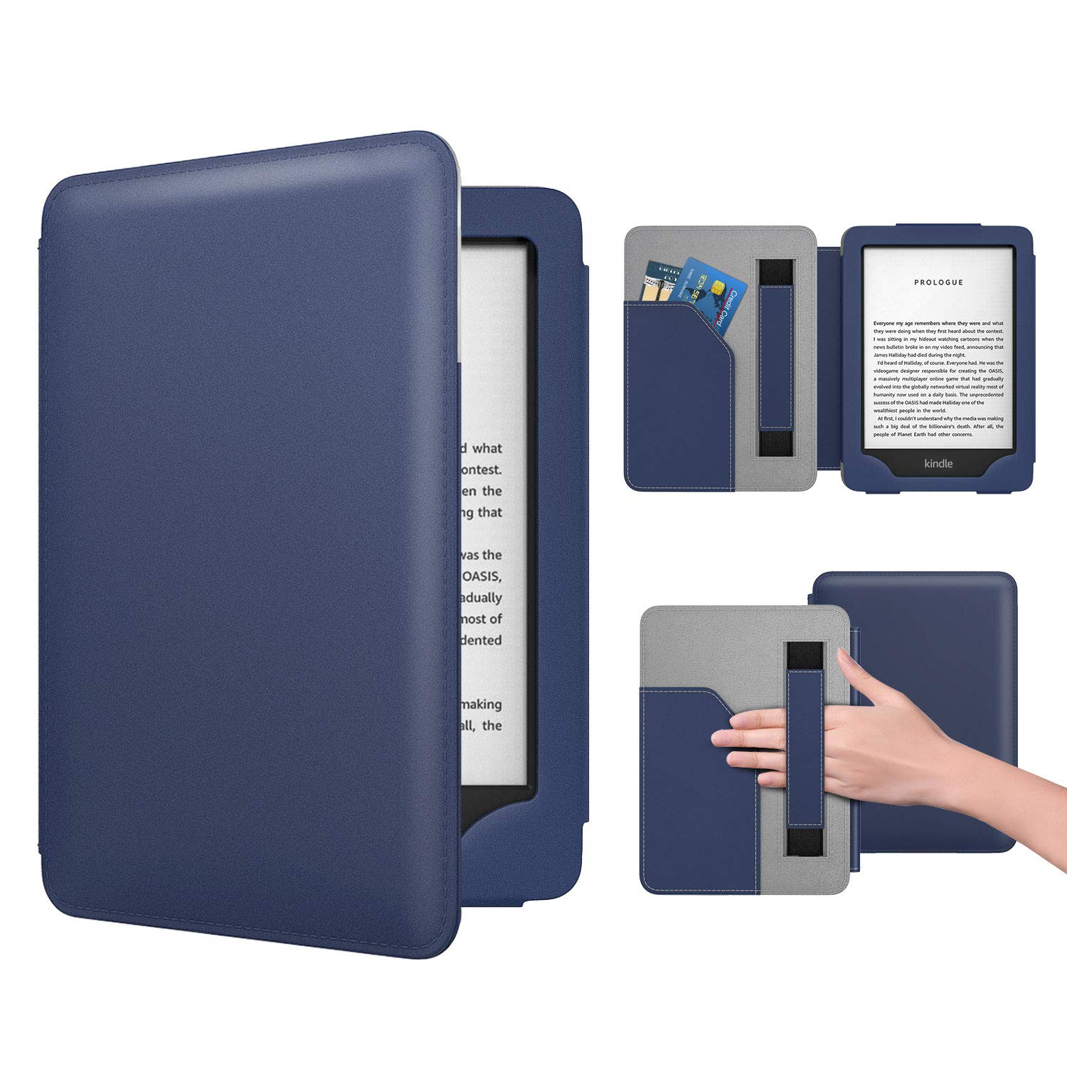Dadanism Case Fits All-New Kindle 10th Generation 2019 Release / 8th Generation 2016, PU Leather Ultra Lightweight Slim Protective Smart Cover with Hand Strap & Pocket (Auto Sleep/Wake) – Indigo