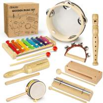 Mababa Kids Musical Instruments , Natural Wooden Musical Set with Eco-Friendly Storage Bag, 8-Types 13-Piece Percussion Instruments Toy for Preschool Educational, Musical Toys Set for Toddlers