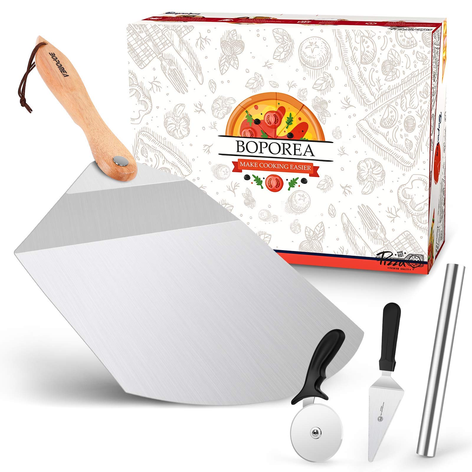 "Pizza Peels,BOPOREA 13.5"" x 14""Metal Pizza Paddle with Foldable Wood Handle,Pizza Shovel,Wheel Cutter,Rolling Pins,Pizza Spatula Pizza Oven Accessories,for Baking,Slicing Homemade,Bread,Pie,Pastry"