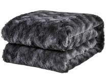 "PHF Faux Fur Throw Blanket 50"" x 60"" Plush Home Decoration Soft Warm Fuzzy Luxurious Cozy Heavyweight Bed Couch Chair Sofa Charcoal"