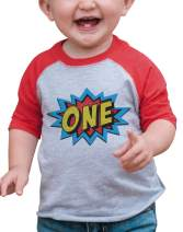 7 ate 9 Apparel Boy's Birthday Superhero Red Raglan