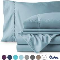 Bare Home 4 Piece 1800 Collection Deep Pocket Bed Sheet Set - Twin Extra Long - Ultra-Soft Hypoallergenic - 1 Extra Pillowcase (Twin XL, Light Blue)