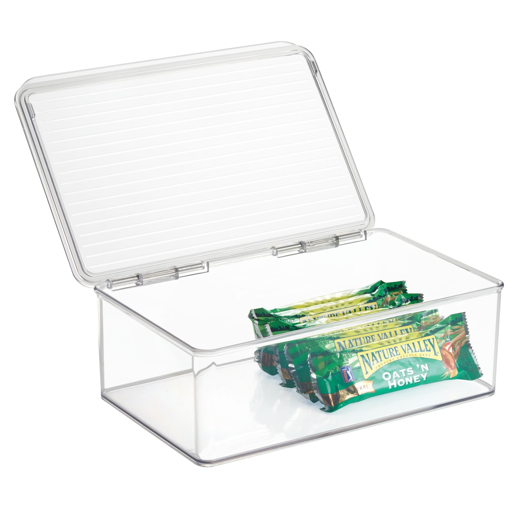 "iDesign Kitchen Binz BPA-Free Plastic Stackable Organizer Box with Lid - 7.25"" x 10.75"" x 3.75"", Clear"