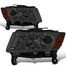 Pair Smoked Housing Amber Corner Projector Headlights Lamps Replacement for Jeep Grand Cherokee Pre Facelift 14-16