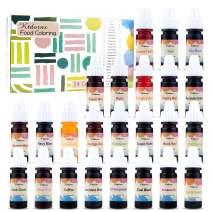 Food Coloring-24 Color Variety Kit-cake food coloring liquid Variety Kit for Food color Baking, Decorating,Fondant and Cooking, Slime Making Supplies Kit - .25 fl. oz. Bottles