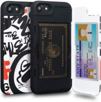 TORU CX PRO iPhone 8 Wallet Case Pattern Colorful with Hidden Credit Card Holder ID Slot Hard Cover & Mirror for iPhone 8 / iPhone 7 / iPhone SE 2020 - Graffiti