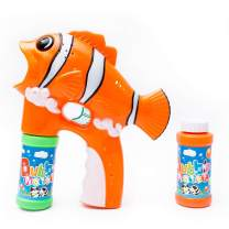 Fun Central LED Light Up Fish Bubble Gun Blower - Bubble Blaster Shooter for Kids with 2 Refill Bottles