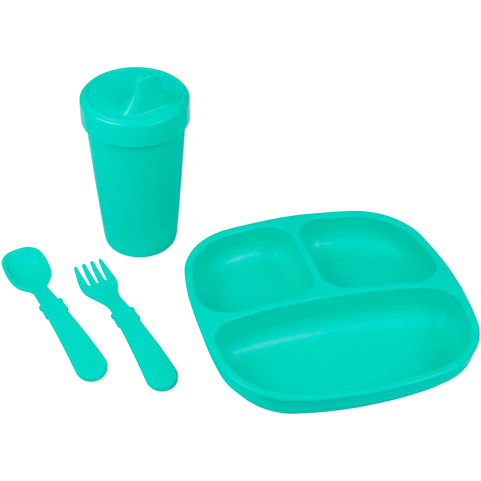 Re-Play Made in The USA Toddler Diner Set | Divided Plate, No Spill Sippy Cup, Utensil Set | Eco Friendly Heavyweight Recycled Milk Jugs - Virtually Indestructible | Aqua